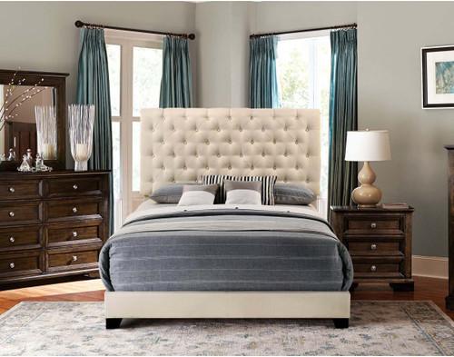 QUEEN BED W/BEIGE FABRIC SH278 BGE