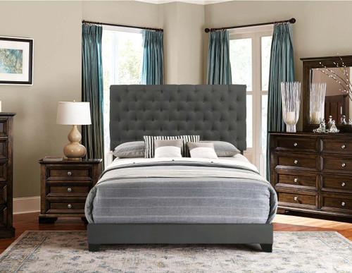 QUEEN BED W/BEIGE FABRIC SH278 DGR-1