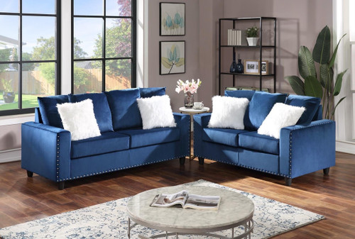 2Pcs Cinderella Sofa and Loveseat Set in Blue Color with Accent Pilllows