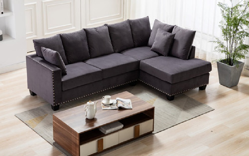 2 Pcs Matteo Sectional Sofa in Grey Color