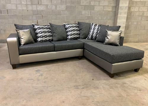 2 Pcs Madison Sectional Sofa In Silver Color