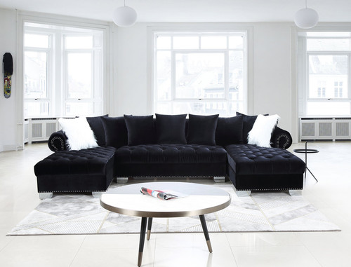 3 Pcs Kim Sectional Sofa And Loveseat in Black Color With Accent Pillows