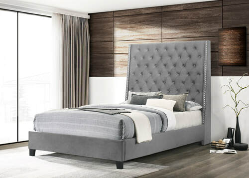 Riccardo Collection Bed In Grey Color