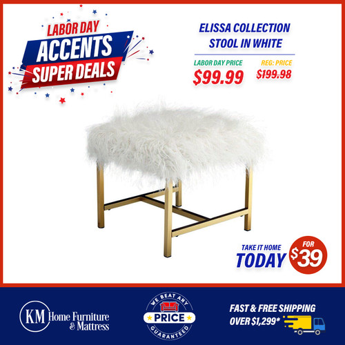 Elissa Collection Stool In White