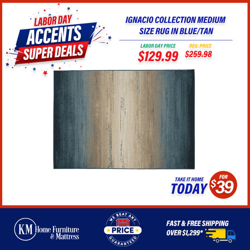 Ignacio Collection Medium Size Rug In Blue/Tan