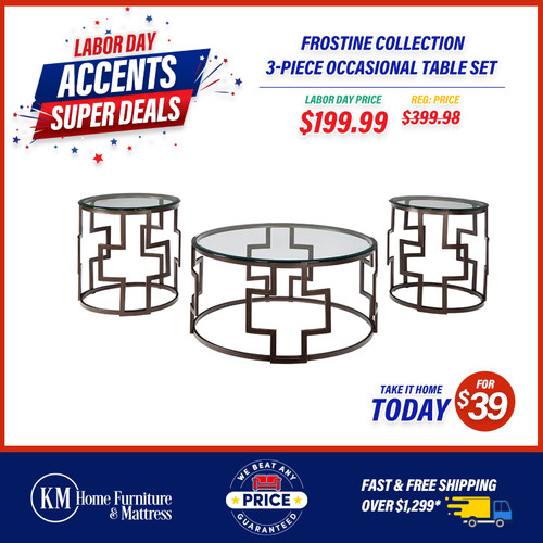 Frostine Collection 3-Piece Occasional Table Set