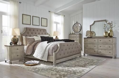 6 Pc Falkhurst Gray/Brown Upholstered Panel Bedroom Set