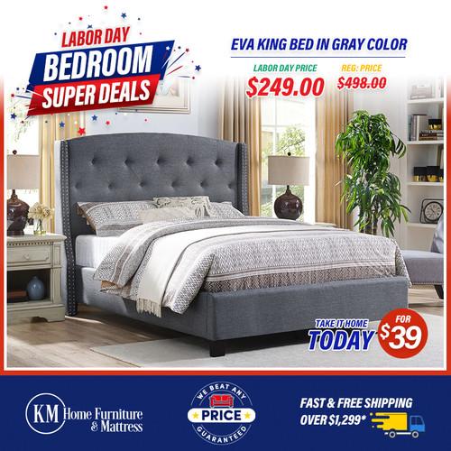 Eva King Bed In Gray Color