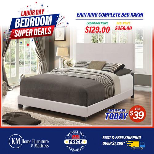 Erin King Complete bed Kakhi