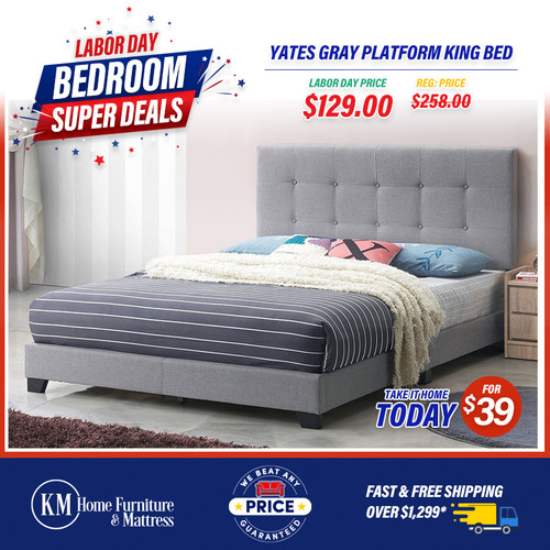 Yates Gray Platform King Bed a compact king sized bed with a finely crafted upholstered gray headboard.