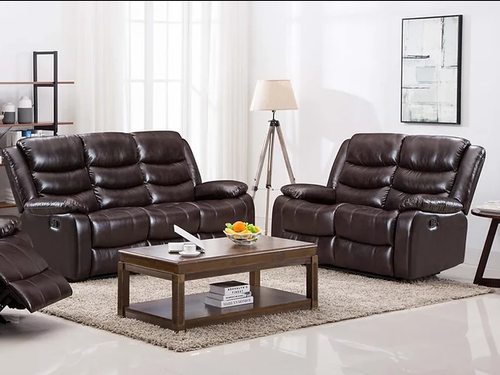 2PC PALERMO LEATHER RECLINER SOFA AND LOVESEAT (BROWN)