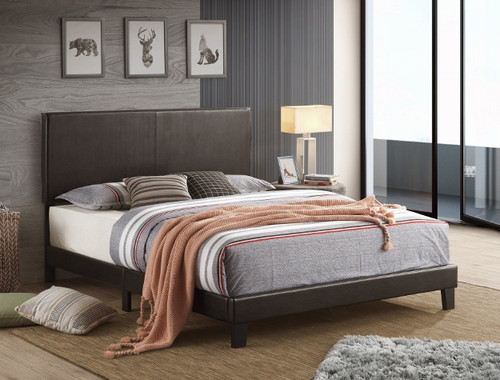 Yates Black Leather King Platform Bed Special, a gorgeously made piece of furniture with a soft, buttery leather upholstered headboard.