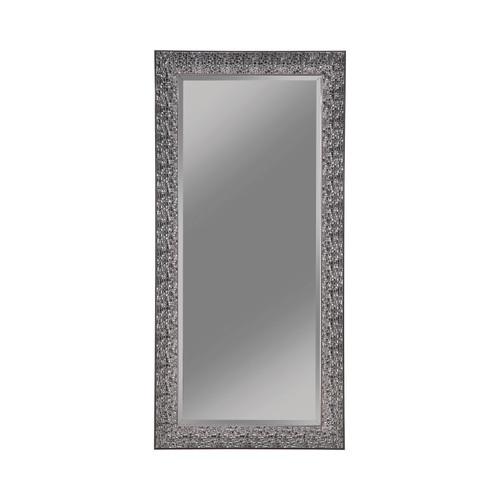 Transitional Black Mosaic Rectangular Mirror 66 in High