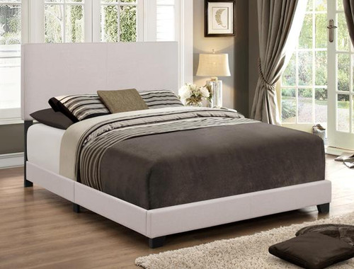 Erin Queen Size Bed Frame Khaki Fabric Upholstered - 5271KH-1