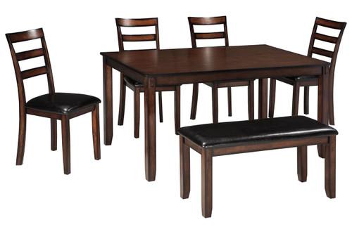 Coviar 6 Pcs Rectangular Regular Height Table Set In Brown Color