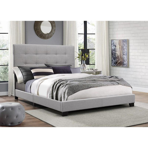 Florence Upholstered Queen Platform Bed In Grey Color
