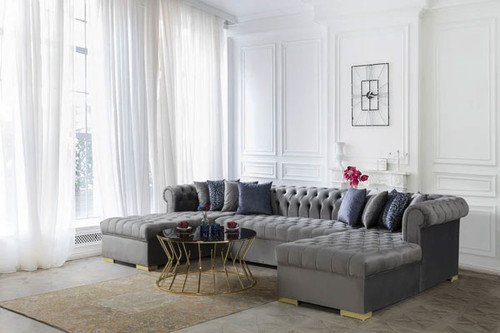 Francesco Velvet Grey Double Chaise Sectional