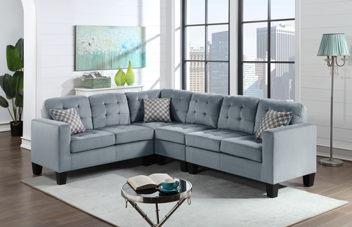 Logan Grey Velvet Sectional Sofa