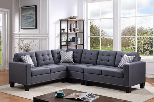 Logan Grey Linen Sectional Sofa
