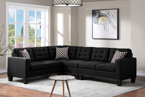 Logan Black Linen Sectional Sofa