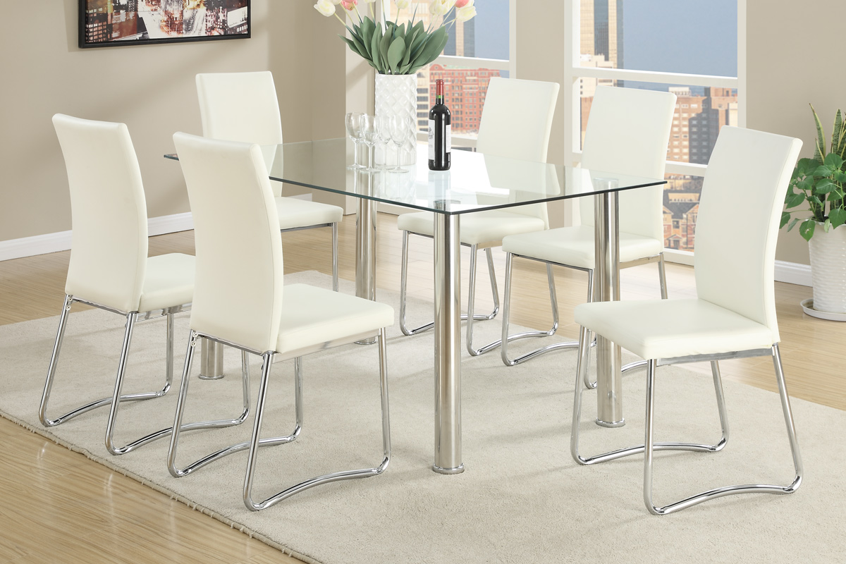 Picture of: Kassa Mall Home Furniture F2212 F1264 7 Pcs White Modern Dining Room Set In Clear 10mm Tempered Glass Top Table