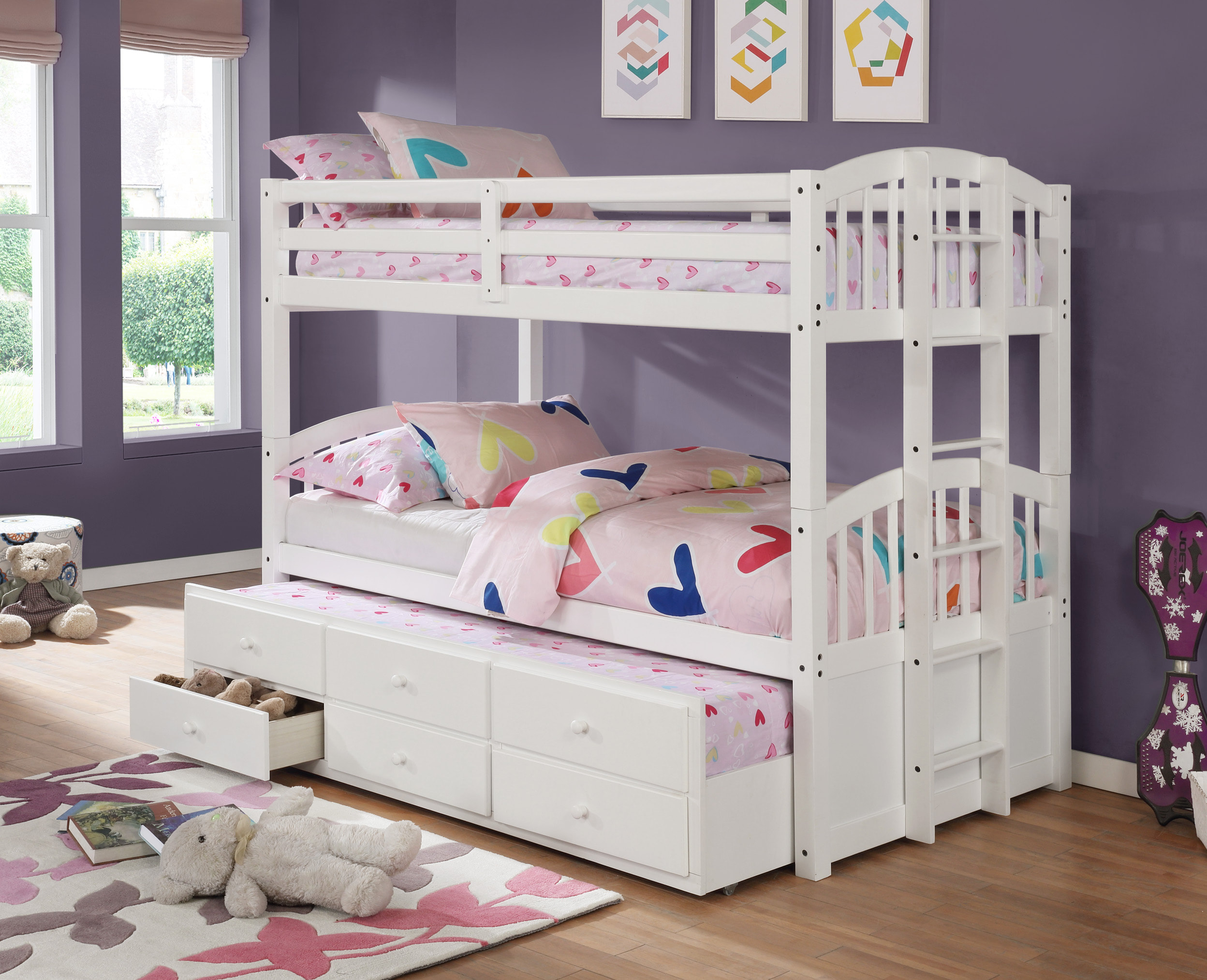 Matteo Twin Over Twin White Bunk Bed With Trundle 3 Drawers By Happy Homes