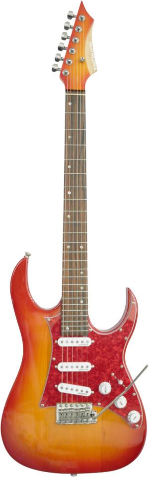 Stretton Payne SPECIAL E350 Electric Guitar Super Strat Cherry Burst. Rocking a super sleak neck, Wilkinson pickups and hardware. Pre CITES Rosewood fretboard.