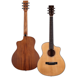 Stretton Payne Signature Series, Travel Mini Acoustic Guitar, 36 inch 3/4 size, Steel String, Solid Spruce Top, Cutaway, GS-100