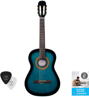Acoustic Guitar Package 3/4 Sized (36' inch) Classical Nylon String Childs Guitar Pack PRO SERIES Blue