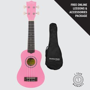 Soprano Ukulele Pink with Gig Bag and Online Ukulele Course
