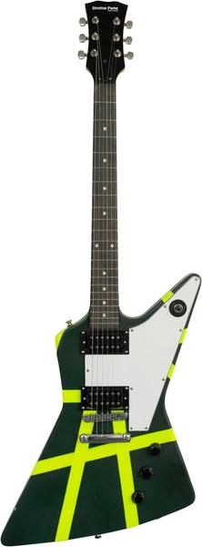 Stretton Payne X Shape Artist Series Electric Guitar Green Reflect Stipe
