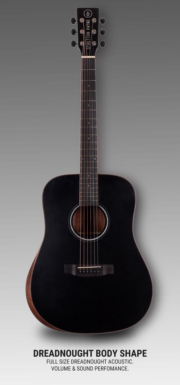 Stretton Payne D1 Pro Acoustic Guitar, With Built In Armrest, Full Size, Steel String Dreadnought, Ergonomic Design, Black