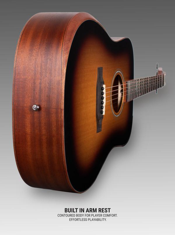 Stretton Payne D1 Pro Acoustic Guitar, With Built In Armrest, Full Size, Steel String Dreadnought, Ergonomic Design, Sunburst