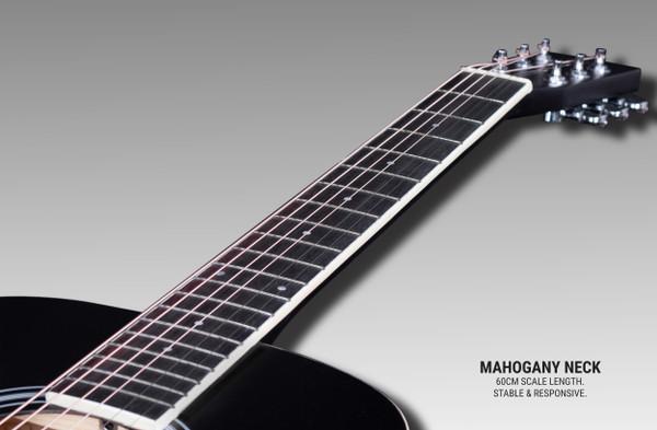 Stretton Payne GA Mini Steel String Acoustic Guitar, 36 inch, ¾ Size Grand Auditorium Body, Limited Edition, Academy Series, Matt Finish, Black