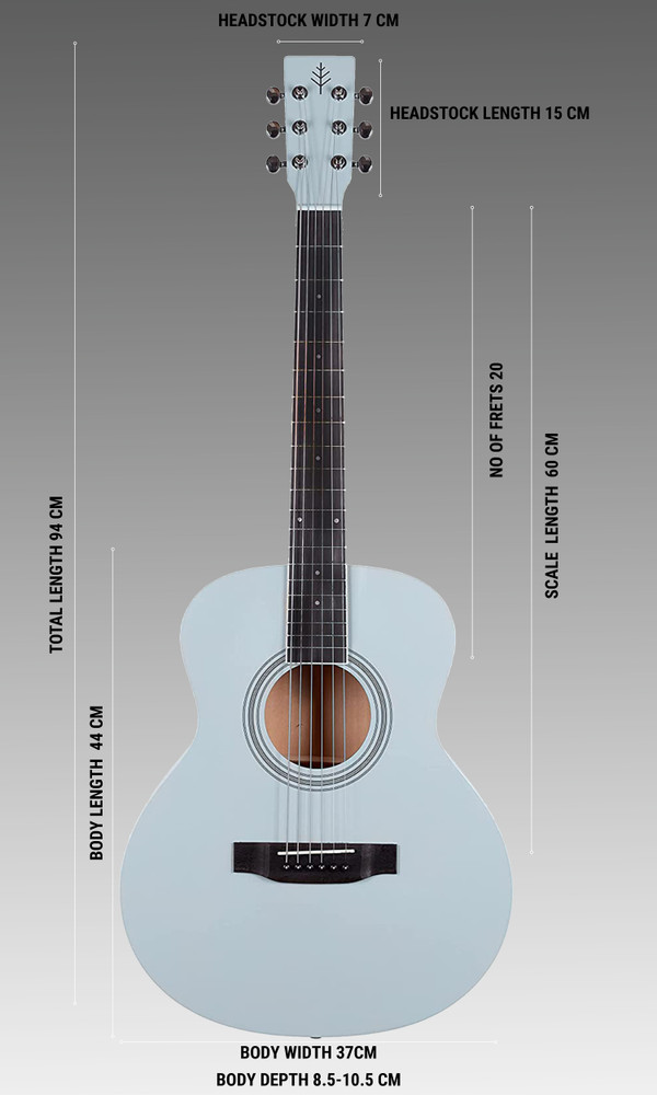 Stretton Payne GA Mini Steel String Acoustic Guitar, 36 inch, ¾ Size Grand Auditorium Body, Limited Edition, Academy Series, Matt Finish, California Blue