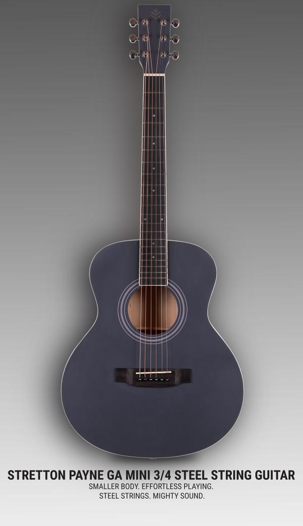 Stretton Payne GA Mini Steel String Acoustic Guitar, 36 inch, ¾ Size Grand Auditorium Body, Limited Edition, Academy Series, Matt Finish, Indigo Slate
