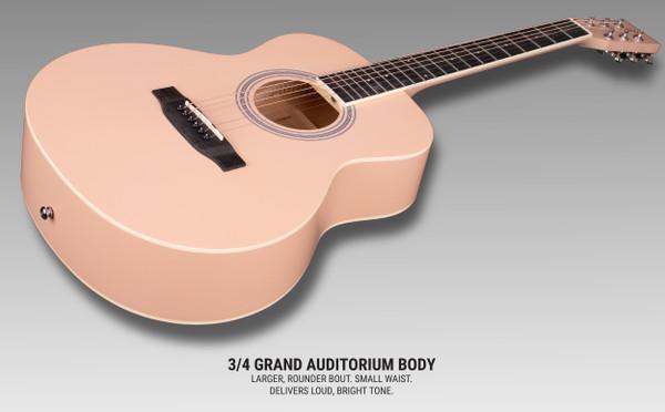 Stretton Payne GA Mini Steel String Acoustic Guitar, 36 inch, ¾ Size Grand Auditorium Body, Limited Edition, Academy Series, Matt Finish, Malibu Pink