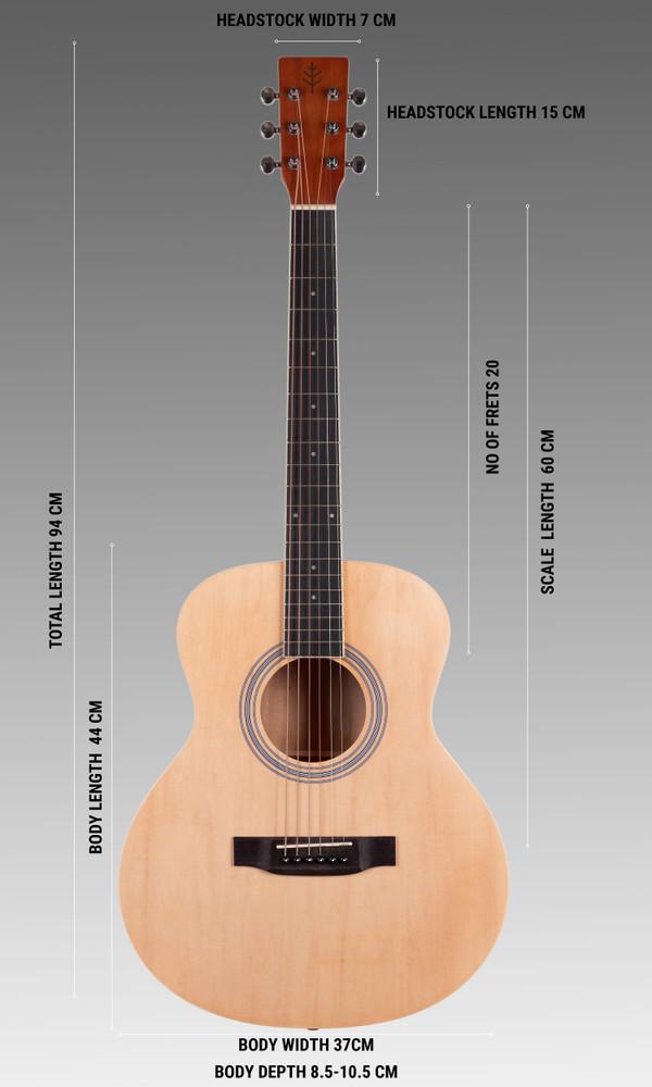Stretton Payne GA Mini Steel String Acoustic Guitar, 36 inch, ¾ Size Grand Auditorium Body, Limited Edition, Academy Series, Matt Finish, Natural