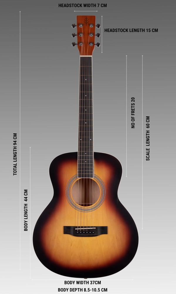 Stretton Payne GA Mini Steel String Acoustic Guitar, 36 inch, ¾ Size Grand Auditorium Body, Limited Edition, Academy Series, Matt Finish, Sunburst
