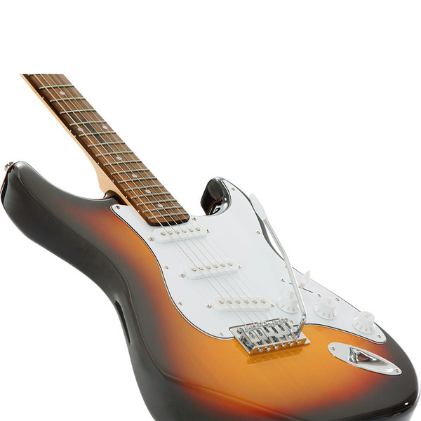 Stretton Payne ST Electric Guitar with practice amplifier, padded bag, strap, lead, plectrum, tuner, spare strings. Guitar in Sun Burst