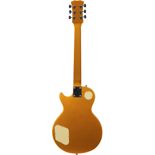 Stretton Payne LP Electric Guitar with practice amplifier, padded bag, strap, lead, plectrum, tuner, spare strings. Guitar in Gold Top