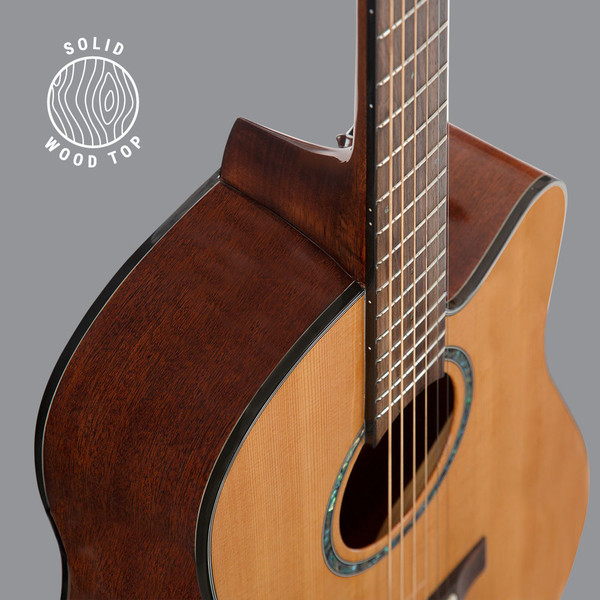 Stretton Payne D4 Solid Cedar Wood Top Cutaway Acoustic Guitar with Mahogany Back And Sides Natural Gloss Finish