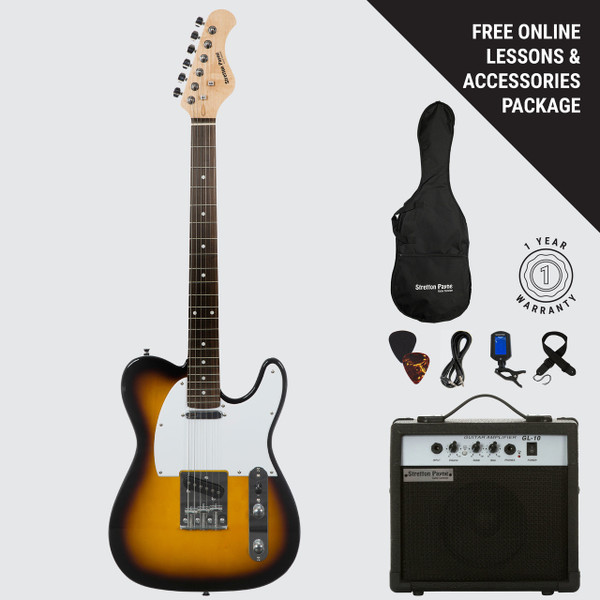 Stretton Payne TE Electric Guitar with practice amplifier, padded bag, strap, lead, plectrum, tuner, spare strings. Guitar in Butterscotch Burst