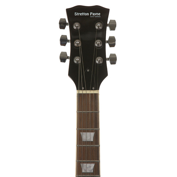 Stretton Payne Flying V Electric Guitar with practice amplifier, padded bag, strap, lead, plectrum, tuner, spare strings. Guitar in Black