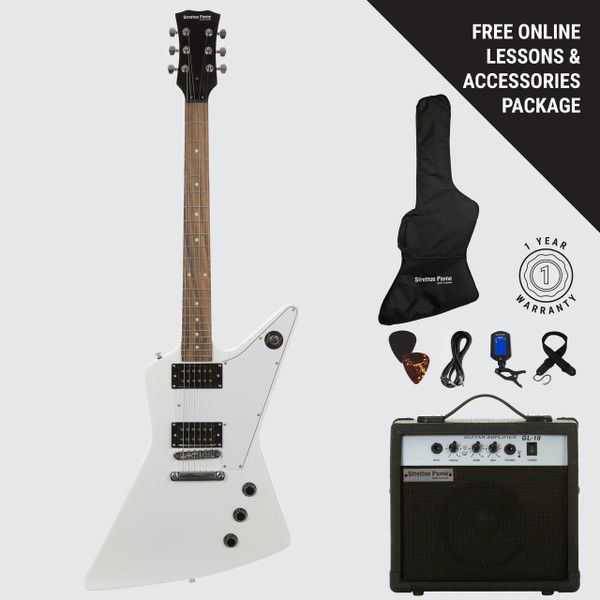 Stretton Payne XE Electric Guitar with practice amplifier, padded bag, strap, lead, plectrum, tuner, spare strings. Guitar in White