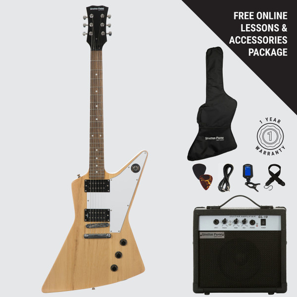 Stretton Payne XE Electric Guitar with practice amplifier, padded bag, strap, lead, plectrum, tuner, spare strings. Guitar in Natural