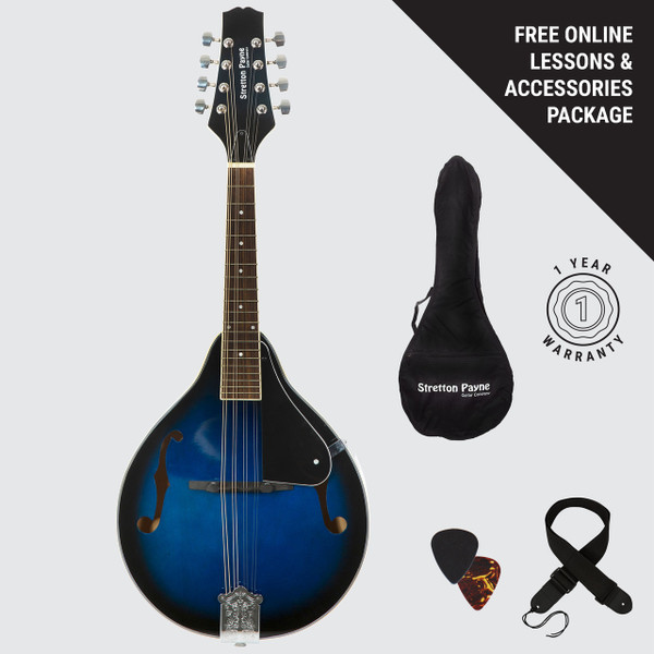 Stretton Payne Mandolin with Gig Bag and Online Beginner Course - Blue Burst