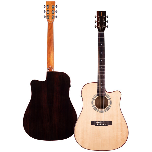 Stretton Payne Professional Signature Series, Solid Top Dreadnought Acoustic Guitar, Full Size, Steel String, Solid Spruce Top, ADS-79CEQ
