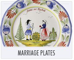 Quimper French Pottery Marriage Plates