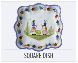 Quimper French Pottery Square Dish